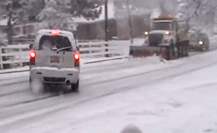 If your vehicle begins to skid, steer in the direction of the slide.