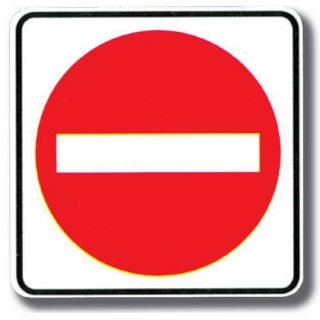 White square or rectangular signs with white, red, or black letters or symbols are usually what kind of signs?