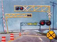 How far from a railroad crossing should you stop?