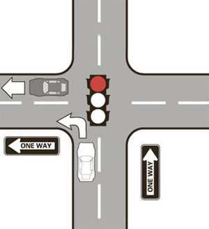 Left turns at a red light can only be made from a: