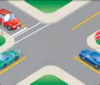 When arriving at an intersection, you should look _____ first because ________________.